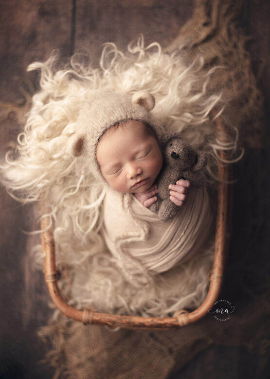 troy michigan newborn photographer melissa anne photography wrapped baby with bear bonnet